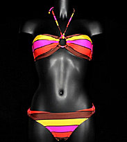 Roxy Bikini Multico Stripes 70`s Lowrider Ring brown coffee