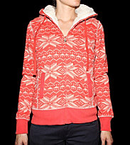 Roxy W Zip Hooded Double Bubble orange jacq print