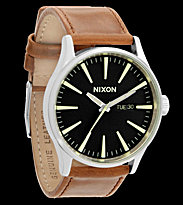 Nixon Watch The Sentry Leather brown black/saddle