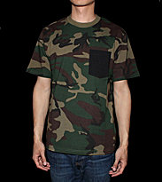 Carhartt T-shirt Contrast Pocket green camo/black