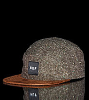 Huf 5 Panel Cap Tweed Volley green olive